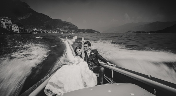 The newlyweds on the boat